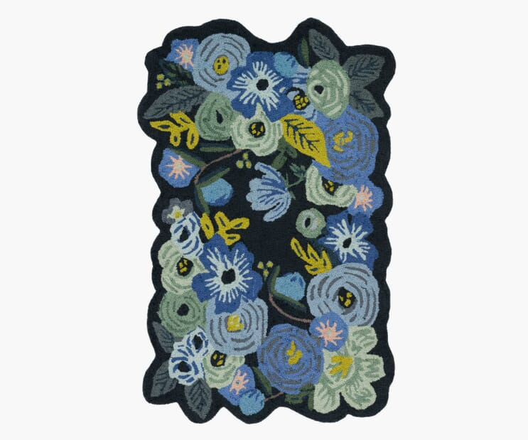 Garden Party Blue Wool-Hooked Rug