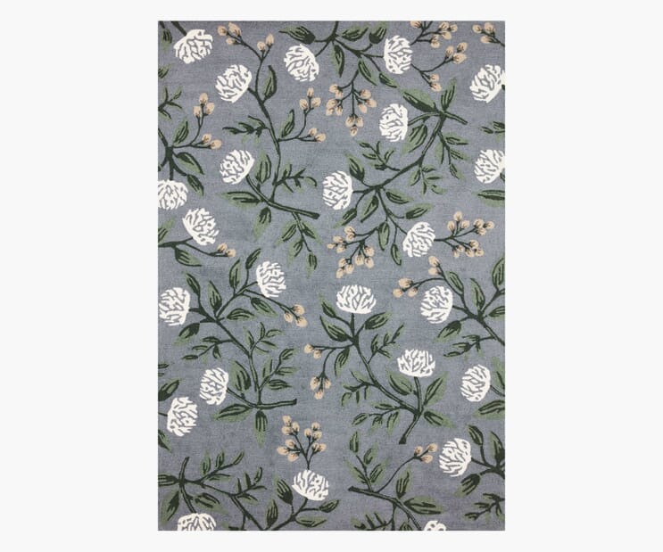 Peonies Dusty Blue Wool-Hooked Rug
