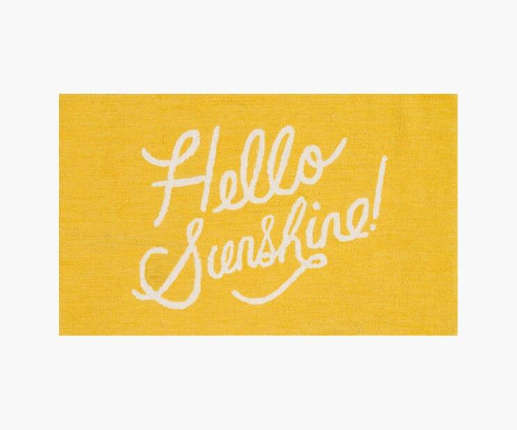 Hello Sunshine Yellow Wool-Hooked Rug