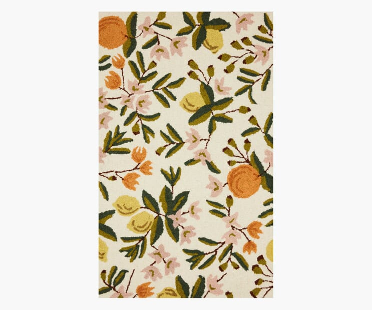 Citrus Floral Cream Wool-Hooked Rug