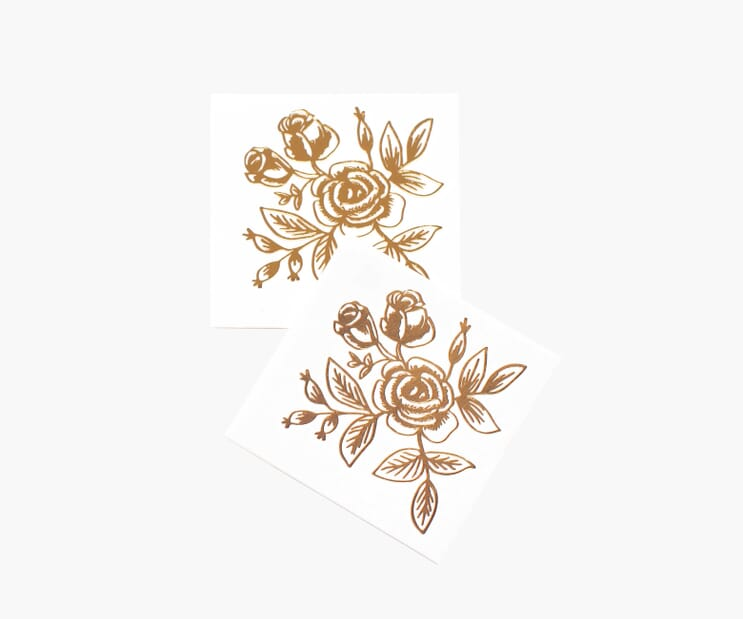 Gold Floral Tattoos