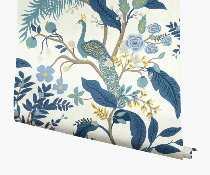 Blue and white peacock wallpaper from Rifle Paper Co